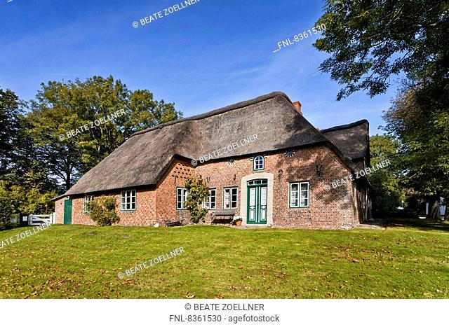 Thatched-roof house, Keitum, Sylt, Schleswig-Holstein, Germany, Europe