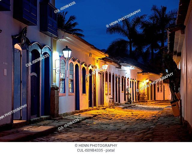 Street in Paraty at twilight, Costa Verde, Rio de Janeiro, Brazil