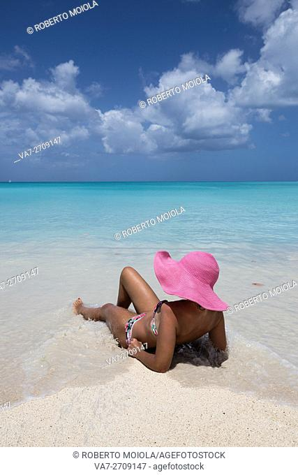Sunbathe on the beach facing the turquoise water of the Caribbean sea The Nest Antigua and Barbuda Leeward Islands West Indies