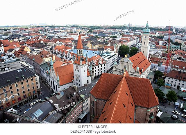 Panorama Of Munich As Seen From The Church Of St. Peter Bell Tower, Bavaria, Germany