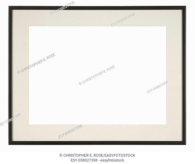 Empty picture frame, narrow moulding, black finish