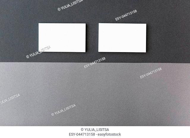 Set of business card on the dark and light grey combination background