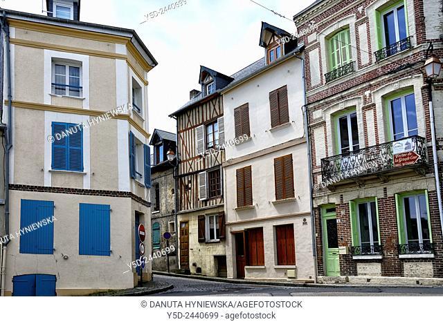 street scene, old town of Honfleur, Calvados, Normandy, France