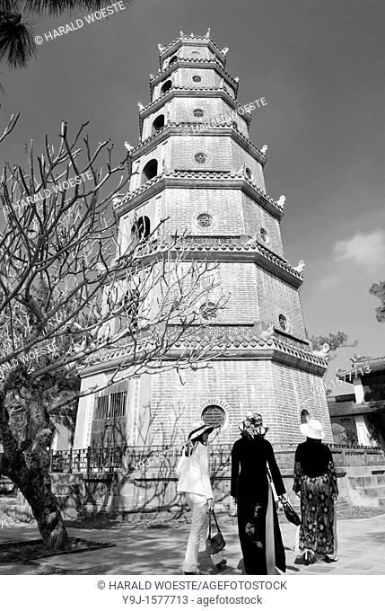 Asia, Vietnam, Hue  Thap Phuoc Duyen Source of Happiness Tower at Thien Mu Heavenly Lady Pagoda  Designated a UNESCO World Heritage Site in 1993