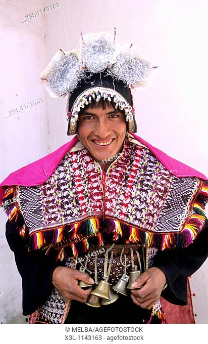 Pujllay dress for dancing in Tarabuco  Sucre  Bolivia