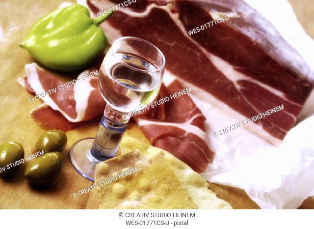 Parma ham, green pepper and grappa