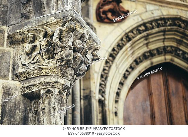 Bas-relief On Famous Landmark - Church Of Our Lady Before Tyn In Prague, Czech Republic