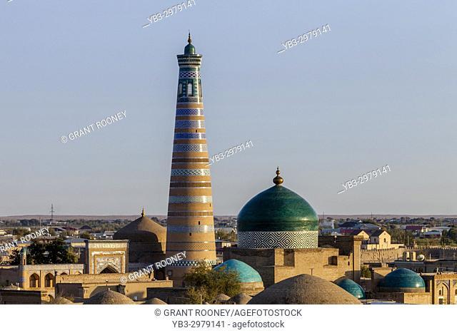 The Skyline Of The City Of Khiva At Sunset, Khiva, Uzbekistan