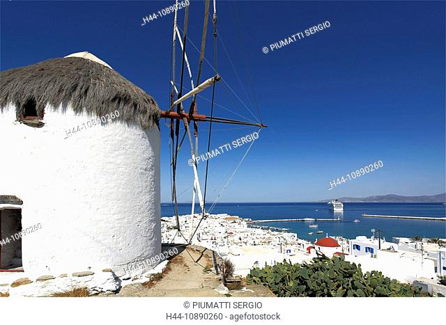 Europe, Greece, Greek Islands, Mykonos, aegean mediterranean, Cyclades Chora, white, painted, stucco, houses, architecture, windmill, colored, doors, windows
