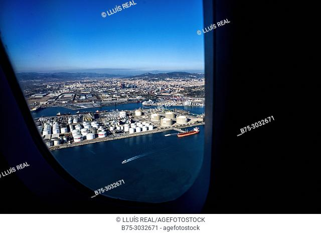 View of Barcelona from the window of a plane. Barcelona, Spain, Europe