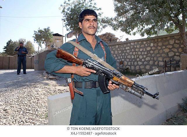 Afghan national Police officer on duty in Kunduz, Afghanistan