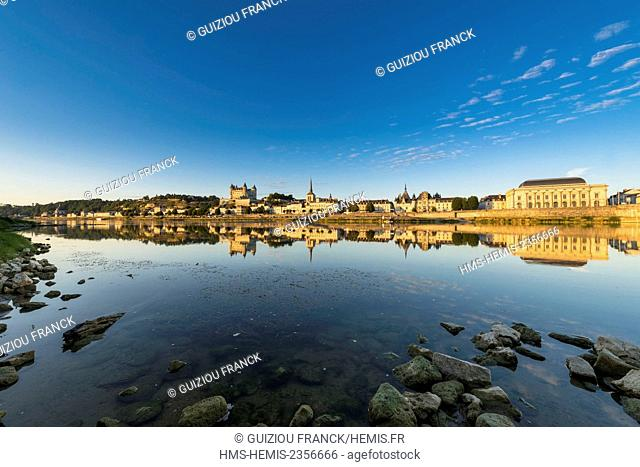 France, Maine et Loire, Loire valley listed as World Heritage by UNESCO, Saumur, the castle, Saint-Pierre church, the town hall and the theatre are reflected in...