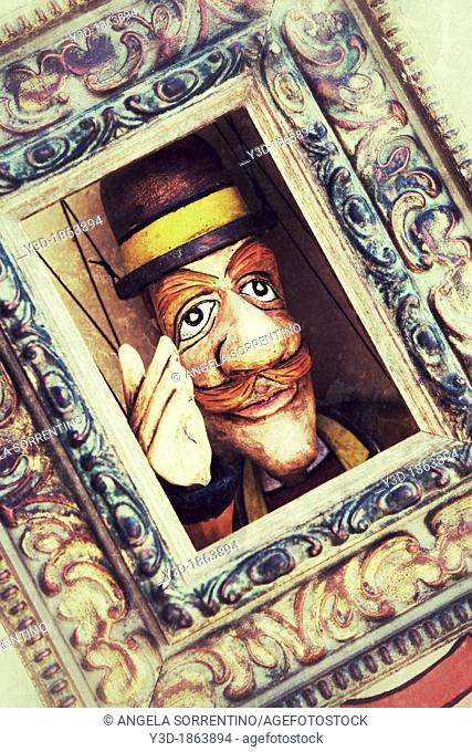 Wood Puppet of Man with Bowler Hat and Red Mustache