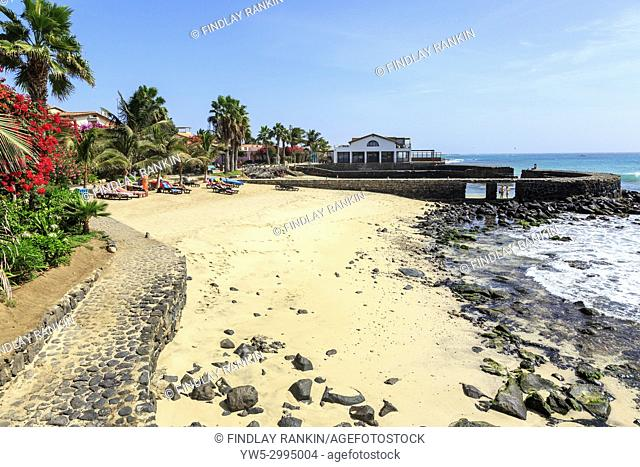 Old harbour also known as East harbour and beach at Santa Maria, Sal Island, Salinas, Cape Verde, Africa