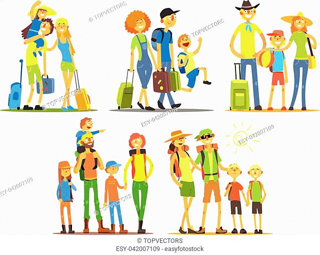 Family Of Three Travelers Primitive Flat Vector Drawing In Simple Cartoon Style On White Background