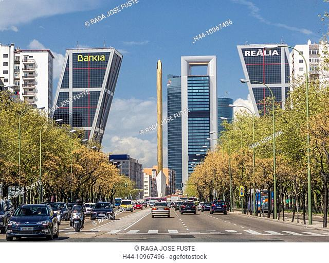 Avenue, Castellana, City, Madrid, Spain, Europe, Square, architecture, cars, leaning, skyline, tourism, towers, traffic light, travel
