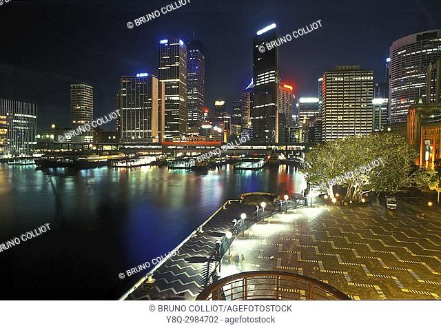 Rock view of Sydney downtown and harbor at night. NSW. australia