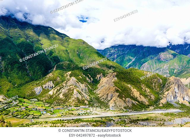 Nature view in Annapurna Conservation Area, a hotspot destination for mountaineers and Nepal's largest protected area