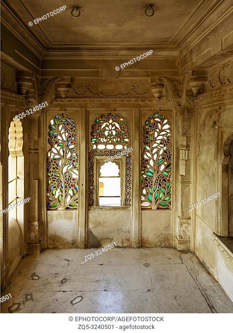 Colorful glass work on window, Udaipur, Rajasthan