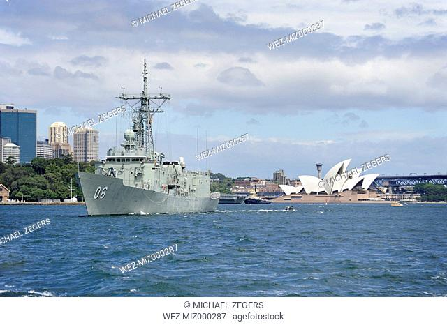 Australia, New South Wales, Sydney, View of Opera House and Australian Warship in Sydney