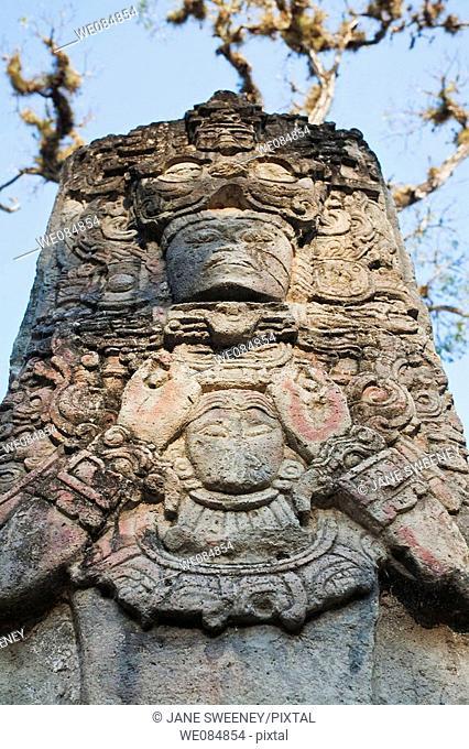 Stela P, West Court, Mayan ruins of Copan, Honduras