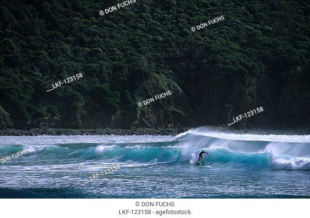A man surfing, Neds Beach, Lord Howe Island, Australia