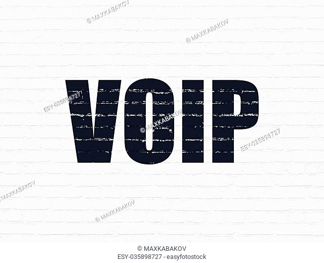 Web development concept: VOIP on wall background