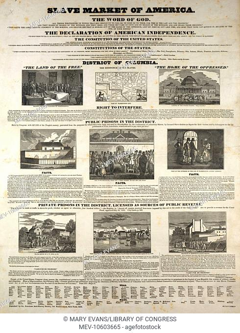 Slave market of America. A broadside condemning the sale and keeping of slaves in the District of Columbia. The work was issued during the 1835-36 petition...