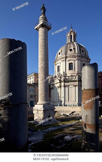 Rom, Trajanssäule und Kirche Santissimo Nome di Maria