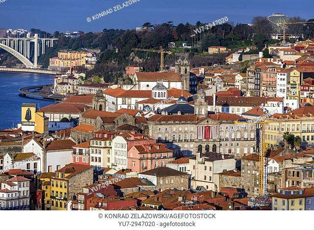 Porto cityscape on Iberian Peninsula, second largest city in Portugal. View from Gaia city. Rosa Mota Pavilion and Bolsa Palace on photo
