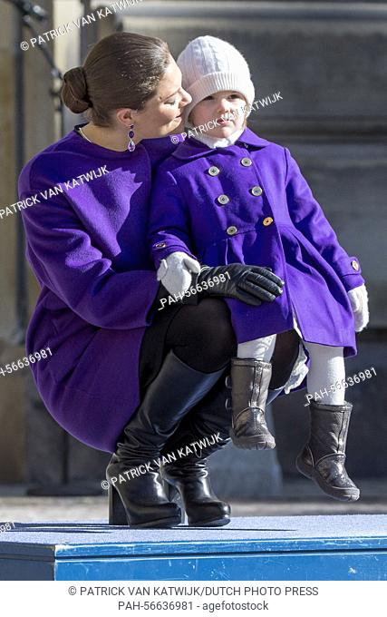 Crown Princess Victoria and Princess Estelle of Sweden celebrate the Name Day of Crown Princess Victoria at the inner court yard of the Royal Palace in...