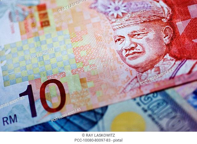 Close-up detail of asian currency