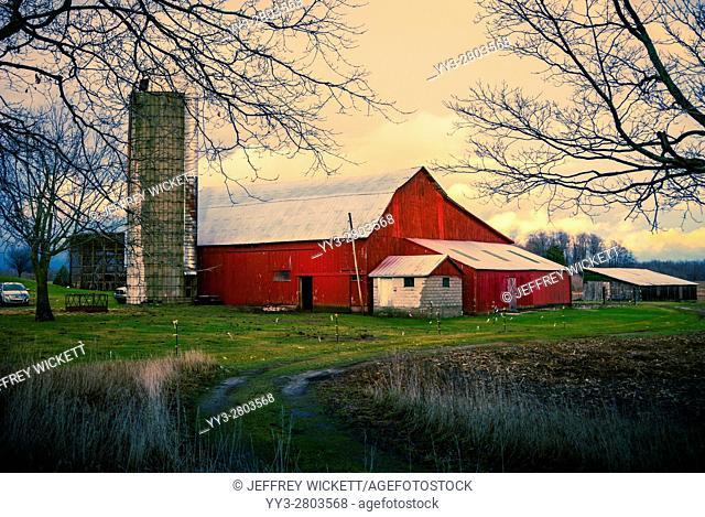 Scenic red barn near Ludington, Michigan, USA